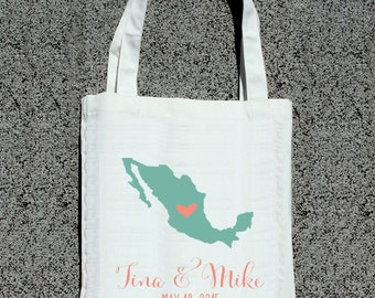 Personalized Destination Wedding Map- Wedding Welcome Tote Bag