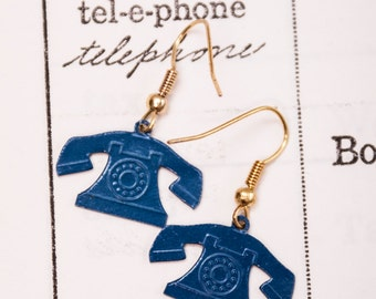 1980's Blue Rotary Telephone Earrings