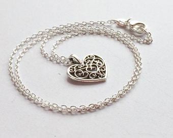 Antique Silver Filigree Heart Sterling Silver Necklace, Classy Chic Dainty Brides Bridesmaids Necklace N118