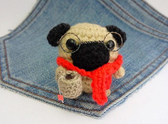 Amigurumi Glasses : Amigurumi Pug crochet Pug with glasses scarf and a tiny cup