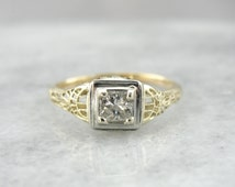 Art Deco Filigree Engagement Ring with Square Cut Diamond, Excellent Quality. H09Y30-N