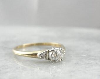 Bright Mine Cut Diamond in Vintage Solitire 1940's Engagement Ring - T23C35-P