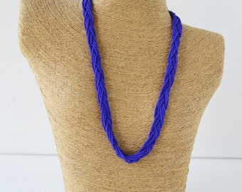 Royal blue necklace, seed bead necklace, monaco blue necklace, bright blue necklace, beaded necklace,  braided necklace, seed bead necklace