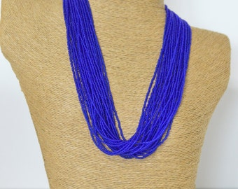 Sapphire blue necklace, cobalt blue necklace, statement necklace, boho,multistrand,beaded necklace, electric blue, gift for her, bright blue