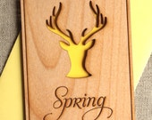 Wood Cards for Spring Celebration - Deer Silhouette Greeting Card - Deer Antlers