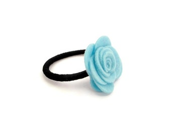 Girl Ponytail/ Light Blue Ponytail/ Felt Flower Ponytail/ Hair Accessories For Children/ Flower Ponytail Holder