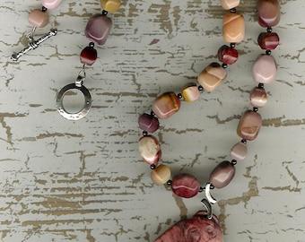Talking Head - Mookaite Parrot Pendant, Garnet, Sterling Silver Necklace