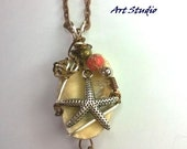 FREE SHIPPING! Silver Wire Wrapped Seashell Starfish Charm Red Jasper Gemstone Pendant Necklace Bronze Copper Seashore Spiritual Healing