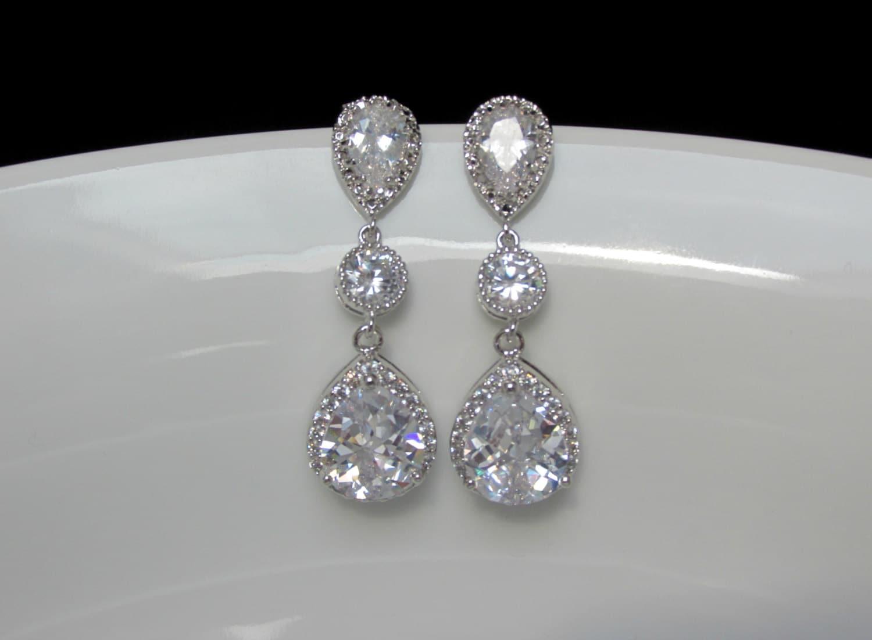 Pear Bridal Drop Earrings Long Cz Drop Earrings Clear