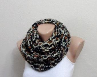 multicolor knit infinity scarf  multicolor of mealy circle scarf crochet scarf