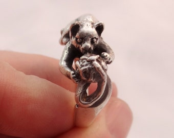 Dancing Cat With Ball Ring Sterling Silver Ring Cute Silver Cat Ring Playing Cat Ring Silver Animal Ring Silver Jewelry Jewellery Handmade