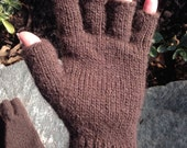 Plain Brown Half-Finger Gloves