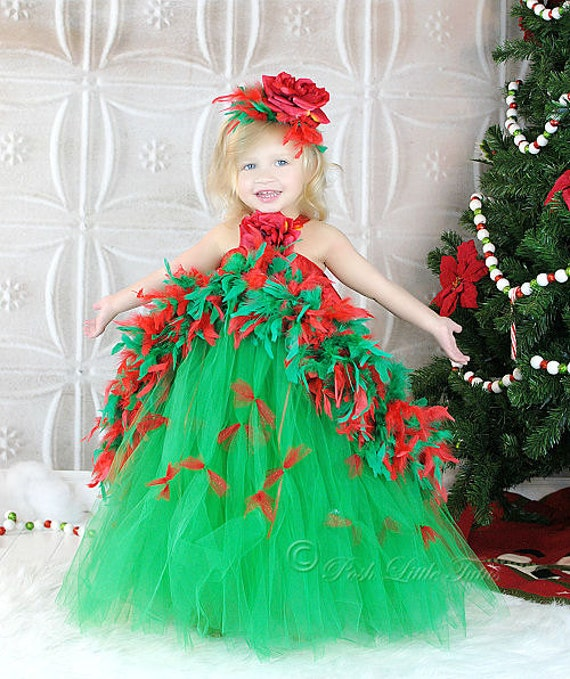 Tree boutique feather couture little girls holiday tutu dress