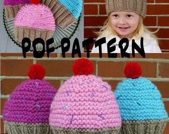 INSTANT DOWNLOAD Cupcake Hat Knitting Pattern,Knit Cupcake Hat Pattern,Knit Toddler Hat Pattern,Knit Kids Hat Pattern,Knit Girls Hat Pattern
