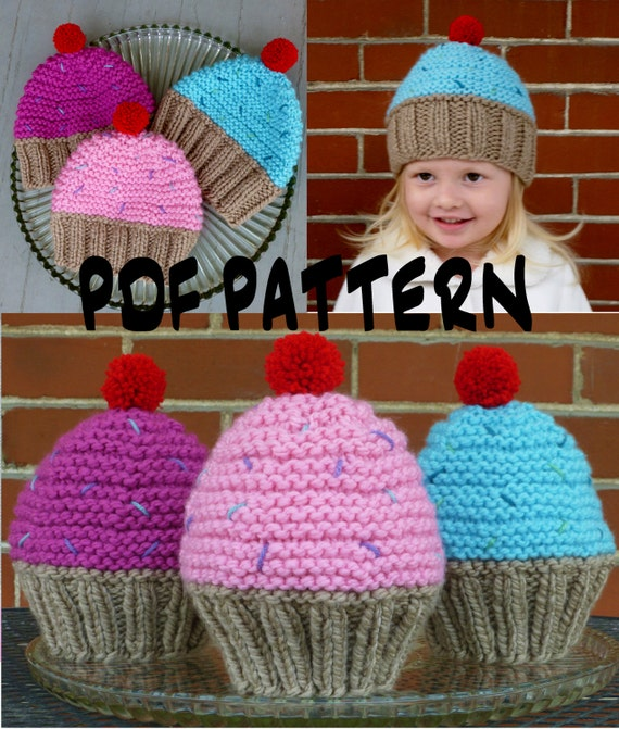 Hand Knitted Blanket Patterns : INSTANT DOWNLOAD Cupcake Hat Knitting PatternKnit Cupcake Hat