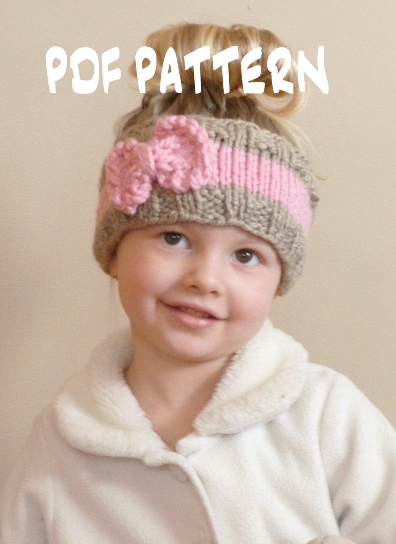 Knitting Pattern Childs Headband : KNITTING PATTERN The Bo Peep Headband Toddler Knit Ear Warmer