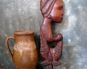 Mother and Baby Hand Carved Vintage Wall Hanging - Celebrate Mother's Day -  Mother and Child African Wood Carving