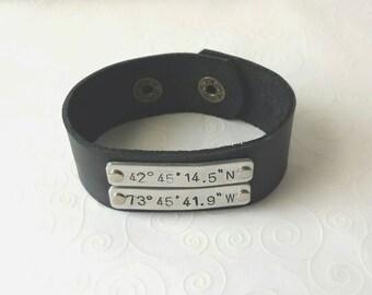 Latitude Longitude - Coordinate - Leather Cuff Bracelet