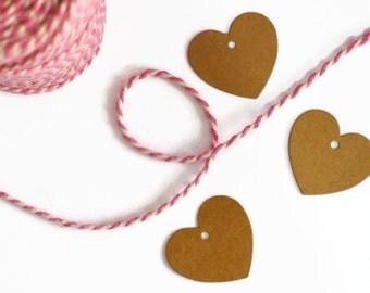 25 Mini Heart Gift Tags / / Kraft Cute Tags