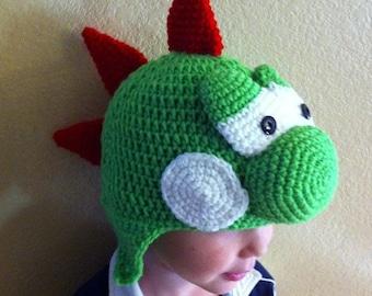 Crochet Yoshi Hat Sizes baby to adult