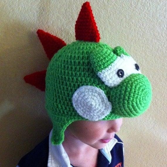 Crochet Pattern Mario Hat : Crochet Yoshi Hat Sizes baby to adult by ColbyzCorner on Etsy