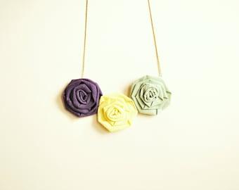 Fiber necklace/ cotton rosette/ fiber jewelry/ necklace handmade/ pendant/ golden chain