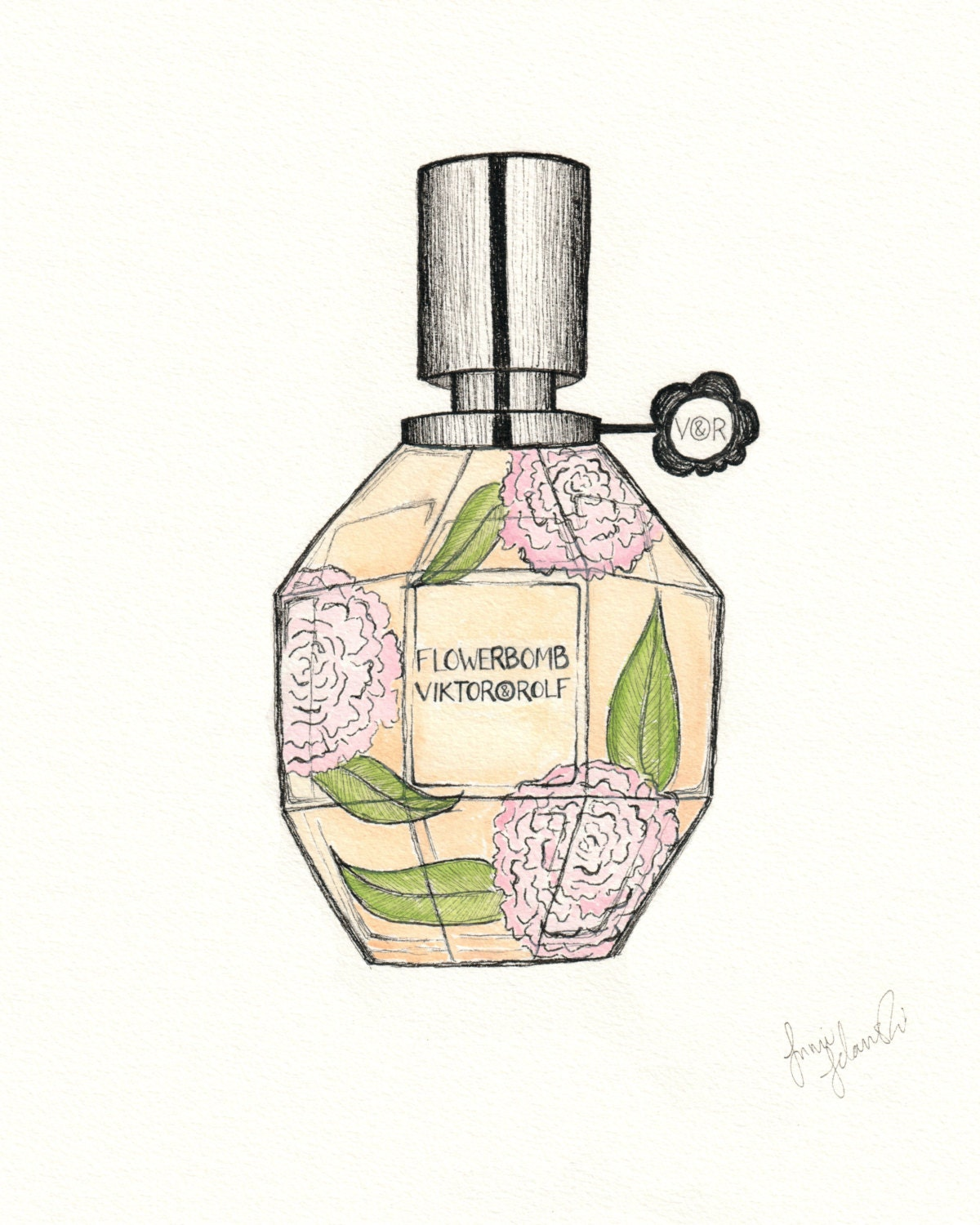 Viktor and Rolf Flower Perfume Drawing Print Pen and Ink