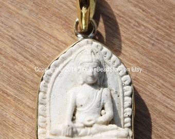 White Akshobhya Buddha Tibetan Pendant - 19mm x 36mm - Dhyani Buddha - Ethnic Artisan Handmade Buddhist Meditation Yoga Jewelry - WM3670
