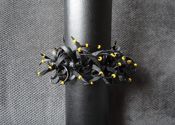 Bracelet with yellow seed beads black rubber bracelet bracelet
