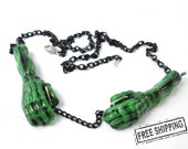 Psychobilly Frankenstein necklace - frankenstein jewelry - zombie jewelry - green skeleton hands necklace - horror movie jewelry - deathrock