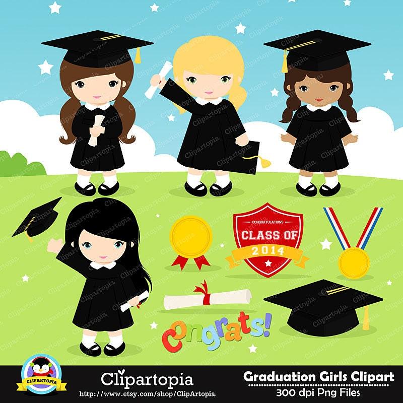 GRADUATION GIRLS Digital Clipart Preschool kindergarten