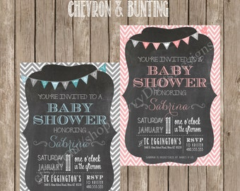 Chalkboard Chevron Print & Bunting Baby Shower Invitation - Printable - Digital File-DIY Baby Shower Invite