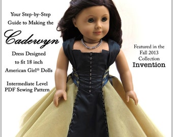 Pixie Faire Melody Valerie Couture Cadewyn Dress Doll Clothes Pattern for 18 inch American Girl Dolls - PDF