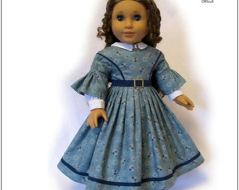 Pixie Faire Thimbles and Acorns 1850's Day Dress Doll Clothes Pattern for 18 inch American Girl Dolls - PDF
