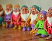 Vintage Walt Disney's Seven Dwarfs Plastic Toy Set