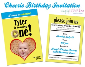 Cheerios Kids Birthday Party Invitation - photo, digital, first birthday