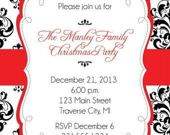 Damask Christmas Party Invitations - Digital Printable Christmas Invitation DIY