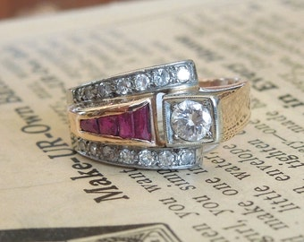 Retro Diamond and Ruby Ring - Asymmetrical - 1940s - Yellow Gold