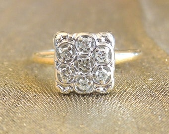 Vintage 1930s Yellow and White Gold Diamond Cluster