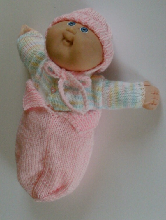 Knitting Pattern Doll Sleeping Bag : NEW PATTERN Cocoon/Sleeping Bag Ribbed cap: Doll Clothes for