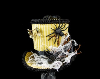 Yellow and Black Striped Spider Halloween Large Mini Top Hat Fascinator, Alice in Wonderland, Mad Hatter Tea Party, Derby Hat