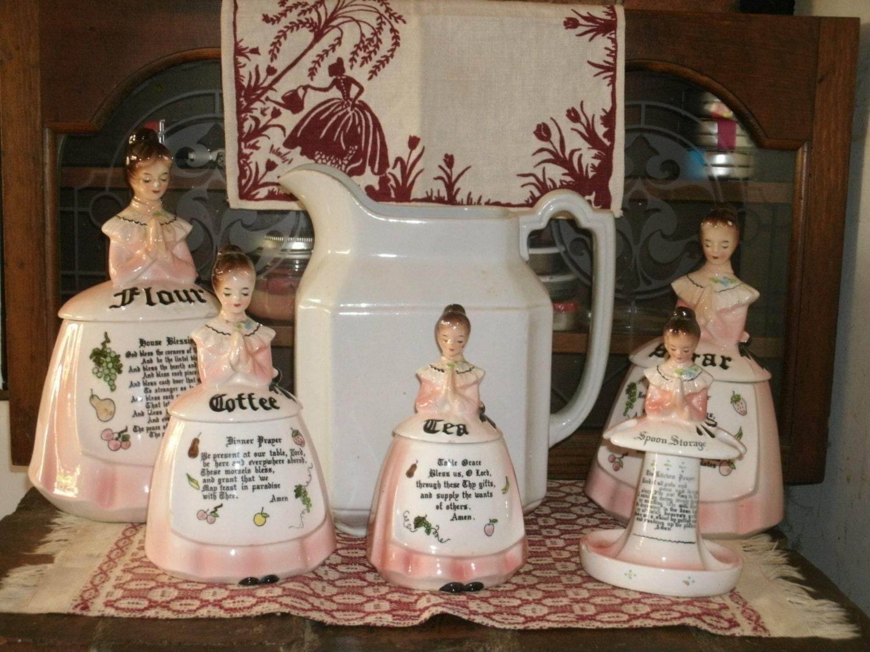 1950 S Prayer Lady Set Enesco Ceramic Figural Pink Praying
