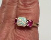 vintage genuine austrailian opal and pink tourmaline designer signed filigree gold vermeil sterling ring a7696020