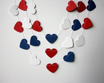 Nautical Party Decor, 4th Of July, Heart Garland, Nursery Decor, Red Blue