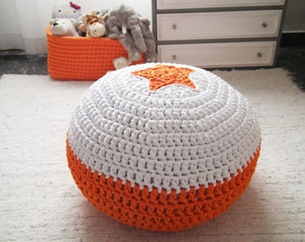 Orange Crochet Pouf-Pouf Ottoman-Star Floor Pouf-Nursery Footstool-Knit Pouf-Floor Cushion-Nursery Decor-Pouffe-Kids Pouf-Floor Pillow Pouf