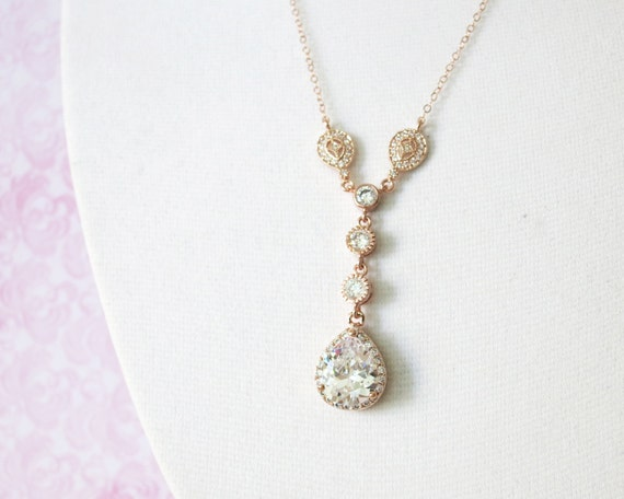 Rose Gold Cubic Zirconia Teardrop Necklace - Vintage style Necklace, rose gold filled chain, bridal gifts, drop, dangle, bridesmaid necklace
