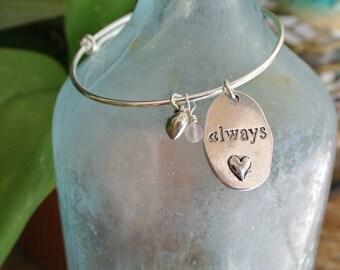 Love you always adjustable bangle bracelet