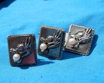 Vintage Sterling Earrings Tie Clip Dragon With Pearl