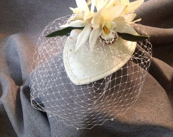 Orchid and Shell Beach Wedding Fascinator