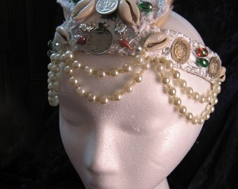 bellydance headband - silver coin pearl and cowrie - headdress - tiara - crown